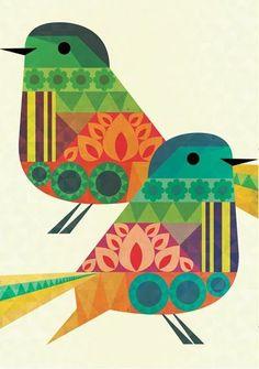 Birds by Crayonfire. illustration-and-graphic-design Stoff Design, Art Et Illustration, Pattern Illustration, Arte Popular, Grafik Design, Art Design, Bird Prints, Bird Art, Beautiful Birds