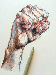 Noel Badges Pugh — ink & watercolor