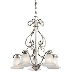 Kichler Camerena Single-Tier  Chandelier with 5 Lights - 72  Chain Included - 27 Inches Wide - Brushed Nickel