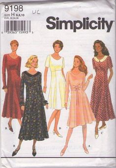MOMSPatterns Vintage Sewing Patterns - Simplicity 9198 Retro 90's Sewing Pattern SO PRETTY High Waisted Flared Modest Skirt Scoop Neck Dress, Day or Night Size 6-10