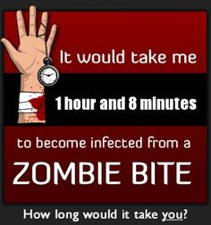 The Zombie Bite Calculator- I must try this!!--Okay, I tried it. It will take me 1 hour and 34 minutes to succumb to the Z-Virus!