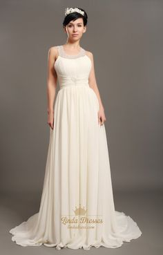 lindadress.com Offers High Quality Ivory Chiffon Beach Beaded A Line Wedding Dresses With Jewelled Collar,Priced At Only USD USD $185.00 (Free Shipping)