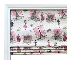 Faux Flat Roman Shade Valence/Couture Roman Shade/ Waverly Tres Chic Black Pink / Window Valence/Valence Girls Room/ Your Choice of Fabric