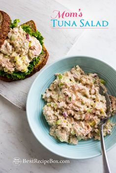 Easy and best tuna salad recipe. This is a recipe for tuna salad from mom. Mom's tuna salad is the best for tuna fish sandwiches, healthy tuna salad recipe
