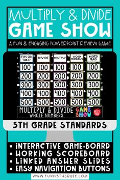 Multiply and divide fractions PowerPoint game show!  This game show is a great activity for whole class engagement.  This PowerPoint review game is fun and engaging and has an interactive game board, working scoreboard, linked slides and more!  Your whole class will be engaged and will BEG to play this fun math game!