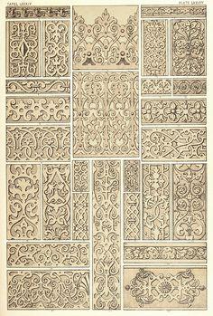 Elizabethan ornaments, from The grammar of Ornament, by Owen Jones. London, 1868. Via archive.org.