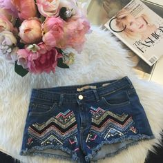 Gorgeous embroidered denim cutoff shorts The most flattering shorts! Cute embroidery for a new spin on denim cutoff shorts. Great for festivals or just wearing around! Zara Shorts Jean Shorts
