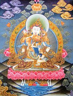 Bajrasattva Shakti Original Thangka Painting  in by NepalHandmade