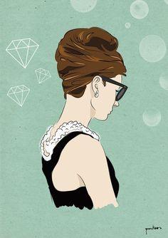 Audrey Hepburn illustrator. Serie ICONS  www.puntoos.com  www.trafficnyc.com