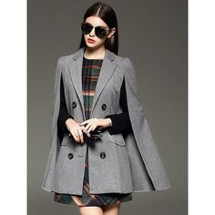 Relaxfeel Temperament Sleeveless Double-Breasted Lapel Woolen Cape... ($92) ❤ liked on Polyvore featuring outerwear, coats, grey, capes cloaks, wool coat, double breasted coat, woolen coat and gray coat