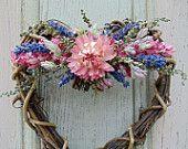 Dried Flower Grapevine Heart Wreath