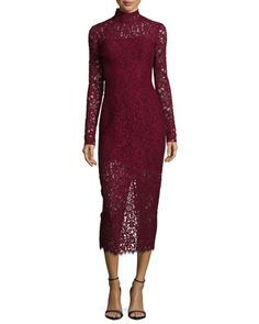 Long-Sleeve+Lace+Midi+Cocktail+Dress+by+ML+Monique+Lhuillier+at+Neiman+Marcus.