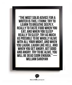 advice for a writer.