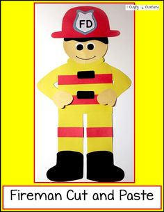 Fireman Cut and Paste that includes directions and patterns to complete this great fireman!  It's excellent for a fire safety theme or lesson. Fireman Crafts, Firefighter Crafts, Fire Safety Crafts, Fire Safety Week, Fire Truck Craft, Community Helpers Crafts, Fire Prevention Week, Community Workers, Fire Trucks