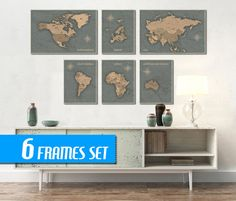 WORLD MAP SET of 6 frames World Map Canvas World Map by ArchTravel