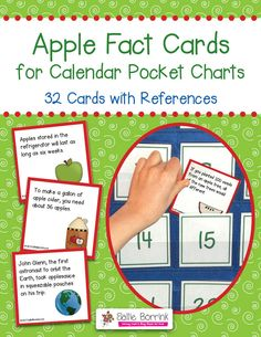 Apple Fact Cards for Calendar Pocket Charts - Apple Unit Extension Activity - A fun, colorful and easy way to extend your study of apples. You will receive 32 cards, each with an interesting fact about apples and apple trees. The 3×3 cards easily slide behind your date cards on the calendar pocket chart. The cards are unnumbered so they can be used in any month and in any sequence.