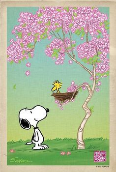 Snoopy cherry blossom digital art by lil boy Snoopy Cartoon, Snoopy Comics, Peanuts Cartoon, Peanuts Snoopy, Images Snoopy, Snoopy Pictures, Snoopy Love, Snoopy And Woodstock, Spring Cartoon