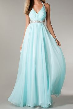 2ff9a99a8dc New Arrival A-line Halter Beaded Bodice Sleeveless Long Chiffon Prom Gowns
