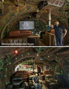 Steampunk Submarine room. Pretty awesome.