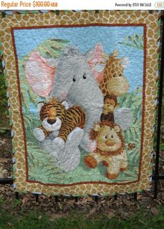 Jungle Baby Quilt, Jungle Baby Quilt, Gender Neutral Crib Bedding, Boy or Girl, Safari Animals, Monkey Giraffe Zebra Lion Tiger Elephant