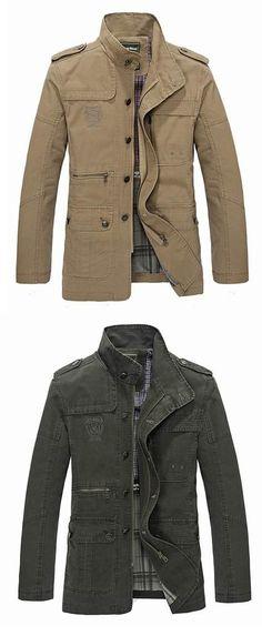 Men's Spring Casual Business Washed Lapel Cotton Blend Jacket Coat