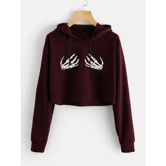 SheIn(sheinside) Skeleton Hands Print Crop Hoodie (830 RUB) ❤ liked on Polyvore featuring tops, hoodies, burgundy, long sleeve pullover, long sleeve hooded sweatshirt, long-sleeve crop tops, brown hooded sweatshirt and cropped hoodie
