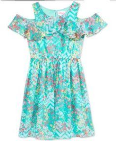 Bloome Floral-Print A-Line Dress, Big Girls (7-16) - Blue 14