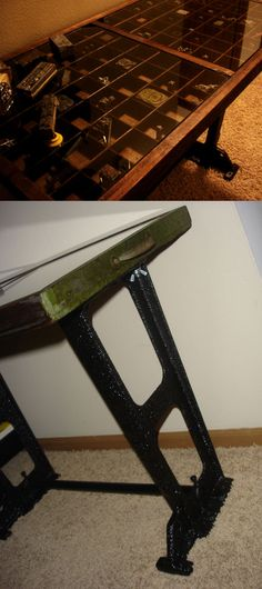 Printers tray table with old printing press legs