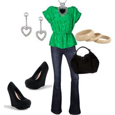 hearts and green, created by corvettegal99 on Polyvore