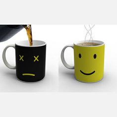 This clever mug transforms when you pour coffee into it from a sad to a happy face.