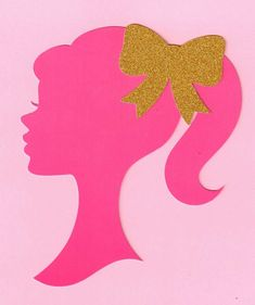 12 Pink 5 inch Barbie silhouette die cut with gold bows Make your own centerpiece with this heavy duty cutout with gold glitter bow Barbie Centerpieces, Barbie Party Decorations, Barbie Theme Party, Barbie Birthday Party, Girl Birthday, Birthday Parties, Barbie Party Games, Bolo Barbie, Barbie Cake