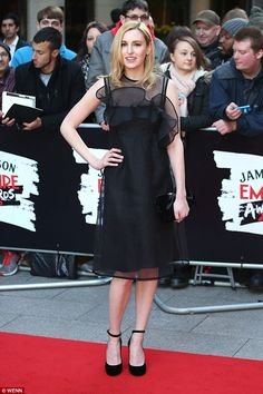 Done with dainty Downton: Laura Carmichael, stunned in a frothy black LBD with a semi-sheer neckline as she attended the Jameson Empire Film Awards 2016 in London on Sunday Hollywood Actresses, Actors & Actresses, Michael Fox, Downton Abbey Movie, Laura Carmichael, Looking Dapper, Film Awards, Frocks, Empire