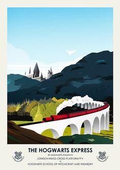 Harry Potter Hogwarts Travel Poster Vintage by CiaranMonaghanArt