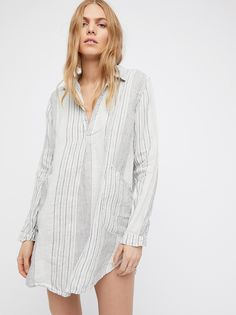 Teton Stripe Tunic by Free People x CP Shades Free People Clothing, Striped Linen, Lace Tops, Look Fashion, Chic, Day Dresses, Editorial Fashion, Cool Outfits, Dress Up