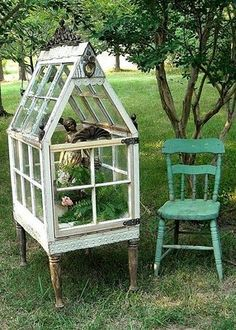 I have been thinking about how to reuse some old windows as a cold box for …um, embarrassingly long. This is the prettiest construction I've ever seen! Okay, it's more terrarium than coldbox, but, I can envision it directly on the ground. …And a matching terrarium on the porch might be the perfect tie-in. :)
