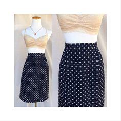 High Waisted Skirt Vintage 80's Polka Dot Abstract Navy Blue Nautical Office Secretary Midi Skirt Geometric Neutral Size Medium