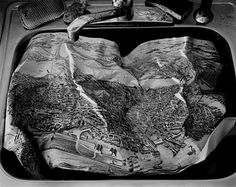 Abelardo Morell Map in Sink (Map of Boston), 1996 Black and white photograph Edition of 30 in 18 x 22 inches (image size) Edition of 15 in 32 x 40 inches (image size) Edition of 5 in 48 x 60 inches (image size) Signed and numbered (Inventory Gelatin Silver Print, Krakow, Artistic Photography, Black And White Photography, Sink, Artsy, Gallery, Artwork, Maps