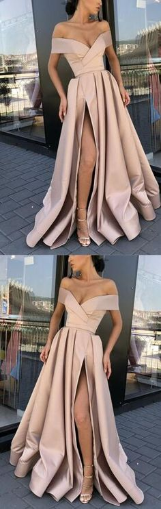 Long Satin Prom Dress,Sexy Split Prom Dress,Off-The-Shoulder Prom