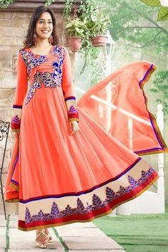 Alluring Orange Anarkali Salwar Suit