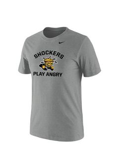 Wichita State Shockers Mens Nike Play Angry Short Sleeve Tee http://www.rallyhouse.com/shop/nike-wsu-shockers-mens-grey-play-angry-short-sleeve-tee-19860427?utm_source=pinterest&utm_medium=social&utm_campaign=Pinterest-WSUShockers $28.00
