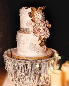 Lace and pearl wedding cake ,chic vintage wedding ideas #weddingcake #weddingcakephotos #cakeideas