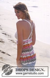 DROPS 95-6 - DROPS Crochet top with stripes in Paris - Free pattern by DROPS Design