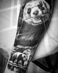 Awesome Mens Realistic Panda Sleeve Tattoos