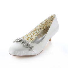 Women's Satin Kitten Heel Closed Toe Pumps With Rhinestone (047085043)