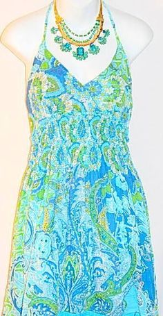 Women Blue Cotton Halter Top Dress Sequins Elastic Waist Size Large #StudioWest #Sundress #SummerBeach