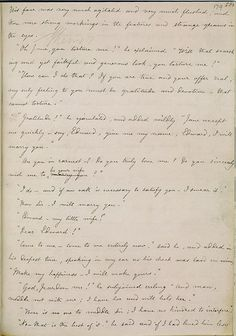 Charlotte Bronte's hand-written manuscript for Jane Eyre, opened to Rochester's…