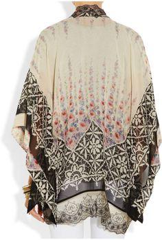 Anna Sui Lace-trimmed Silk-chiffon Kimono Jacket in Multicolor ...