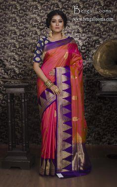 Pure Katan Silk Banarasi Saree in Pink and Purple with Blouse Piece. Phulkari Saree, Kanjivaram Sarees, Indian Silk Sarees, Ethnic Sarees, Organza Saree, Chiffon Saree, Indian Wedding Wear, Saree Wedding, Bandhini Saree