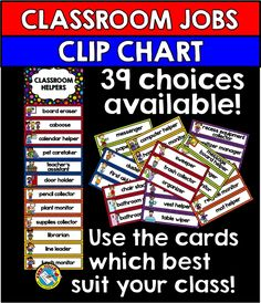 Keep track of classroom jobs/ classroom helpers by using this attractive and useful #classroom jobs clip chart. 39 classroom job choices are included in this resource! Simply print, laminate and choose the cards which are suited to your classroom.   Click to view resource.