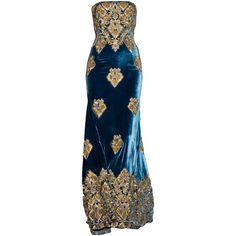 NaeemKhan-editedbyelfemme ❤ liked on Polyvore featuring dresses, gowns, long dresses, blue dresses, long blue evening dress, blue color dress, blue gown and blue evening gown